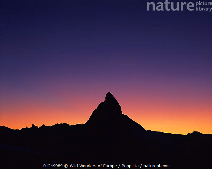 Matterhorn (4,478m) silhouetted at sunset, viewed from Gornergrat, Wallis, Switzerland, September 2008  ,  ALPS,ATMOSPHERIC,COLOURFUL,EUROPE,LANDSCAPES,MOUNTAINS,SILHOUETTES,SUNSET,SWITZERLAND,VERENA POPP HACKNER,WWE  ,  Wild Wonders of Europe / Popp-Ha