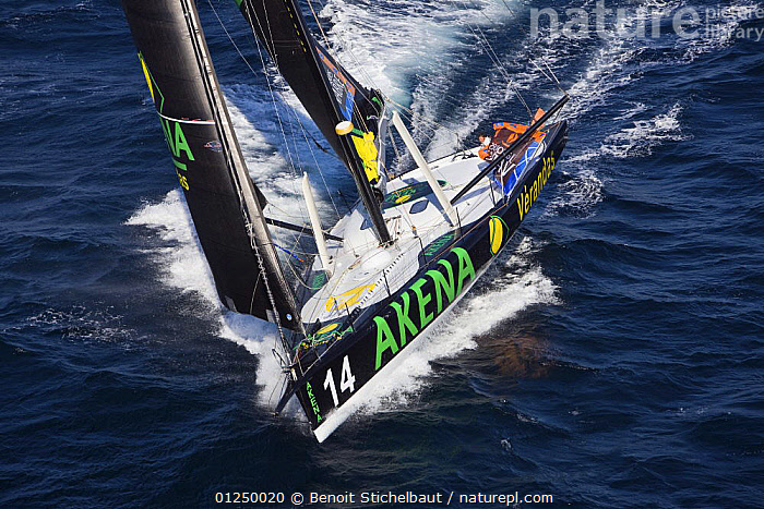 """Imoca monohull """"Akena Verandas"""", skippered by Arnaud Boissieres and co-skippered by Vincient Riou. Training for Transat Jacques Vabre, Belle Ile, Brittany, France. October 2009.  ,  AERIALS,Brittany,EUROPE,FRANCE,IMOCA ,MS,PRACTICING,SAILING BOATS,YACHTS,BOATS  ,  Benoit Stichelbaut"""