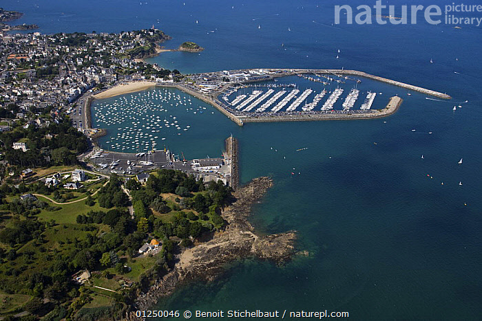 Saint Quay Portrieux, Brittany, France. August 2009.  ,  AERIALS,BRITTANY,COASTS,EUROPE,FRANCE,HARBOURS,LANDSCAPES,MARINAS,TOWNS  ,  Benoit Stichelbaut