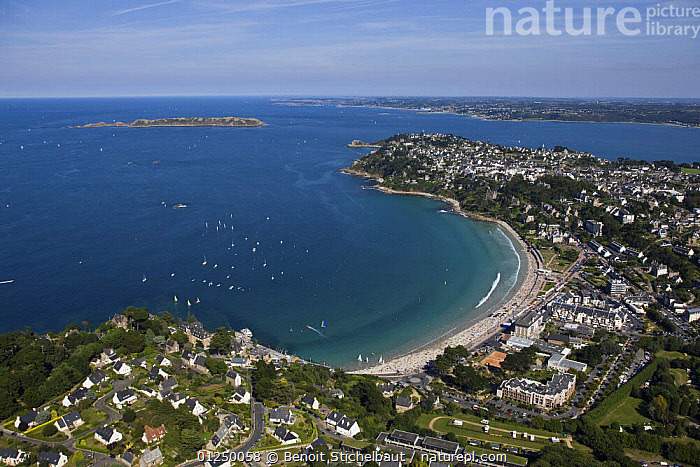 Trestraou beach, Castle Point and L'Ile Tome. Perros Guirec, Cotes d'Armor, France. August 2009.  ,  AERIALS,BEACHES,BRITTANY,COASTS,EUROPE,FRANCE,ISLANDS,LANDSCAPES,POINTE DU CHATEAU,TOWNS  ,  Benoit Stichelbaut