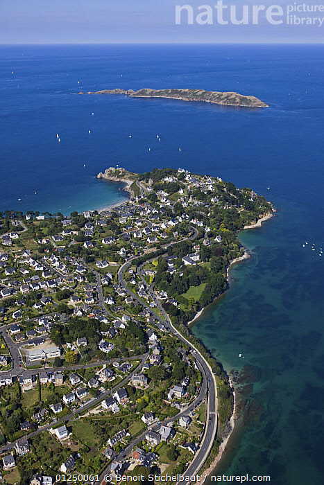 Castle Point and L'Ile Tome. Perros Guirec, Cotes d'Armor, France. August 2009.  ,  AERIALS,Brittany,COASTS,EUROPE,FRANCE,ISLANDS,LANDSCAPES,POINTE DU CHATEAU,TOWNS,VERTICAL  ,  Benoit Stichelbaut