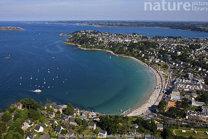 Trestraou beach, Castle Point and L'Ile Tome. Perros Guirec, Cotes d'Armor, France. August 2009.  ,  AERIALS,BEACHES,Brittany,COASTS,EUROPE,FRANCE,LANDSCAPES,POINTE DU CHATEAU,TOWNS  ,  Benoit Stichelbaut