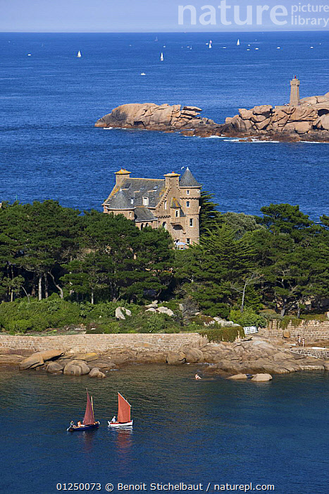 Chateau de Costaeres and Pointe de Mean Ruz, Ploumanach, Cotes d'Armor, France. August 2009.  ,  AERIALS,BOATS,Brittany,CASTLES,COASTS,CRUISING,DINGHIES,EUROPE,FRANCE,GAFF,ISLANDS,isolated,LANDSCAPES,LIGHTHOUSES,SAILING BOATS,VERTICAL, SAILING-BOATS , SAILING-BOATS ,BUILDINGS , SAILING-BOATS , SAILING-BOATS  ,  Benoit Stichelbaut