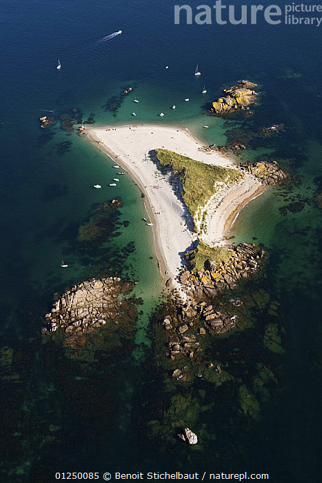 Molene Island, off Trebeurden, Cotes d'Armor, France. August 2009.  ,  AERIALS,BEACHES,BOATS,Brittany,COASTS,EUROPE,FRANCE,ISLANDS,LANDSCAPES,PEOPLE,SMALL,TURQUOISE,VERTICAL  ,  Benoit Stichelbaut