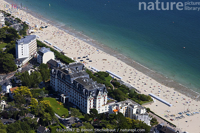 Hermitage Hotel, La Baule, Loire Atlantique. France, August 2009.  ,  AERIALS,BEACHES,BRITTANY,COASTS,CROWDED,EUROPE,FRANCE,LANDSCAPES,RESORTS  ,  Benoit Stichelbaut