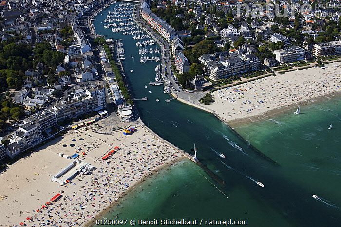 Entrance to Le Pouliguen port, Loire Atlantique. France, August 2009.  ,  AERIALS,BEACHES,BOATS,Brittany,COASTS,CROWDED,EUROPE,FRANCE,HARBOURS,LANDSCAPES,RIVERS,TOWNS  ,  Benoit Stichelbaut