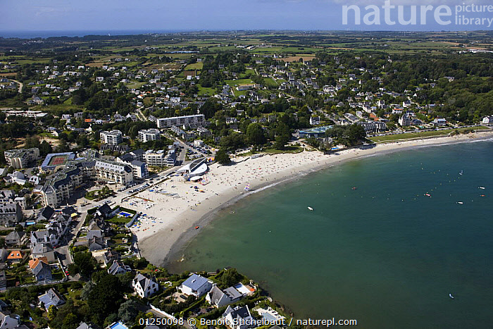 Trez-Hir beach, Plougonvelin, Finistere, France. August 2009.  ,  AERIALS,BEACHES,BRITTANY,COASTS,CROWDED,EUROPE,FINIST�RE,FRANCE,LANDSCAPES,TOWNS  ,  Benoit Stichelbaut