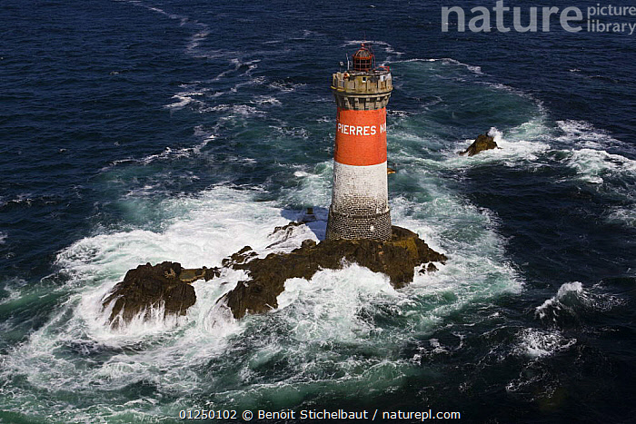 Phare des Pierres Noires (30.5m), built in 1872. Le Conquet, Finistere, France. August 2009.  ,  AERIALS,Brittany,CHOPPY,COASTS,EUROPE,Finist�re,FRANCE,HEAVY SEAS,LANDSCAPES,LIGHTHOUSES,ROCKS,WAVES, WEATHER  ,BUILDINGS  ,  Benoit Stichelbaut