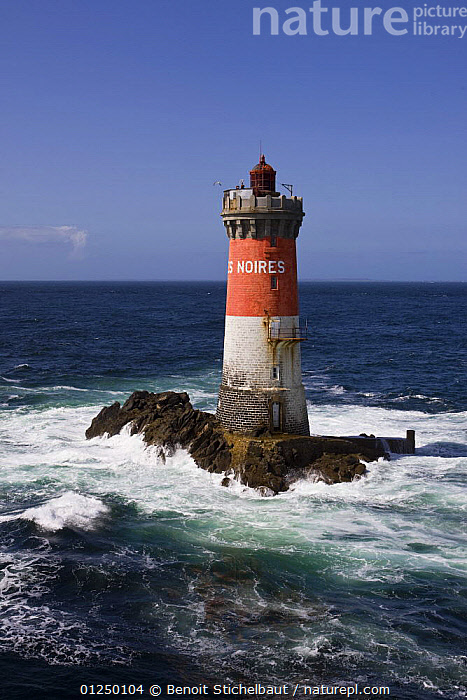 Phare des Pierres Noires (30.5m), built in 1872. Le Conquet, Finistere, France. August 2009.  ,  AERIALS,Brittany,CHOPPY,COASTS,EUROPE,Finist�re,FRANCE,HEAVY SEAS,LANDSCAPES,LIGHTHOUSES,ROCKS,VERTICAL,WAVES, WEATHER  ,BUILDINGS  ,  Benoit Stichelbaut