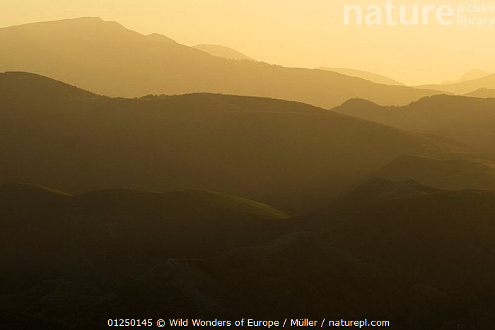 Sunset over hills, Pollino National Park, Basilicata, Italy, November 2008  ,  ATMOSPHERIC,CLAUDIA M�LLER,EUROPE,ITALY,LANDSCAPES,NP,RESERVE,SILHOUETTES,SUNSET,WWE,National Park  ,  Wild Wonders of Europe / Müller