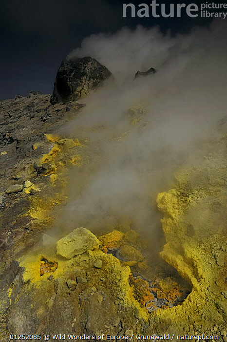 Sulphuric gases coming out of a fumarole (solfatara) Vulcano, Aeolian Islands, Italy, May 2009  ,  EUROPE,fumaroles,gas,GEOLOGY,ITALY,LANDSCAPES,Olivier Grunewald ,sulphur,VERTICAL,VOLCANOES,WWE,YELLOW  ,  Wild Wonders of Europe / Grunewald