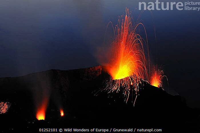 Eruptions on Stromboli Volcano, Aeolian Islands, Italy, May 2009  ,  Active,erupting,EUROPE,GEOLOGY,ITALY,Lava,Olivier Grunewald ,ORANGE,RED,VOLCANOES,WWE  ,  Wild Wonders of Europe / Grunewald