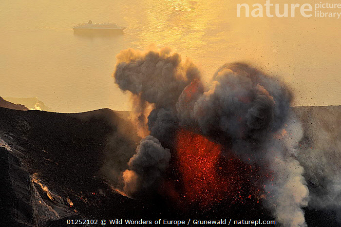 Eruption on Stromboli Volcano with a boat on the sea, Aeolian Islands, Italy, May 2009  ,  Active,BOATS,CLOUDS,COASTS,erupting,EUROPE,GEOLOGY,ITALY,LANDSCAPES,Olivier Grunewald ,smoke,VOLCANOES,WWE,Weather  ,  Wild Wonders of Europe / Grunewald