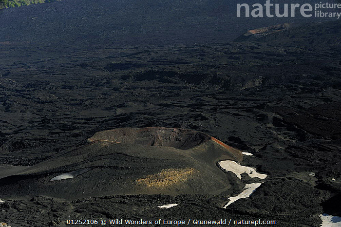 """Old Cones in the """"Valley del Bove"""" the eastern side of Mount Etna Volcano, Sicily, Italy, May 2009  ,  Craters,EUROPE,GEOLOGY,HIGH ANGLE SHOT,ITALY,Lava,Olivier Grunewald ,SICILY,VOLCANOES,WWE  ,  Wild Wonders of Europe / Grunewald"""