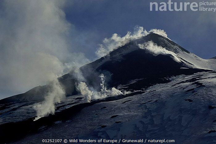 Fumaroles on the South East crater of Mount Etna Volcano, Sicily, Italy, May 2009  ,  Active,EUROPE,GEOLOGY,ITALY,LANDSCAPES,Lava,Olivier Grunewald ,SICILY,steam,VOLCANOES,WWE  ,  Wild Wonders of Europe / Grunewald