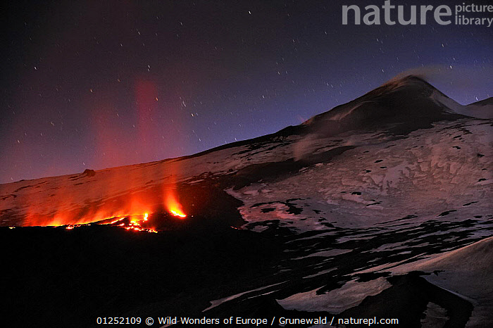 "Lava flow in the ""Valley del Bove"" the Eastern side of Mount Etna Volcano, Sicily, Italy, May 2009  ,  Active,EUROPE,GEOLOGY,glowing,ITALY,LANDSCAPES,Lava,NIGHT,Olivier Grunewald ,SICILY,SNOW,VOLCANOES,WWE  ,  Wild Wonders of Europe / Grunewald"