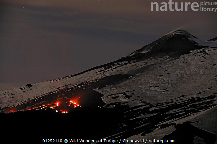 """Lava flow in the """"Valley del Bove"""" the Eastern side of Mount Etna Volcano, Sicily, Italy, May 2009  ,  Active,EUROPE,GEOLOGY,ITALY,LANDSCAPES,Lava,NIGHT,Olivier Grunewald ,SICILY,SNOW,VOLCANOES,WWE  ,  Wild Wonders of Europe / Grunewald"""