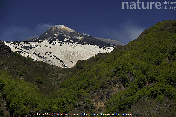 Eastern side of Mount Etna Volcano with snow, Sicily, Italy, May 2009  ,  Active,EUROPE,FORESTS,ITALY,LANDSCAPES,Olivier Grunewald ,SICILY,SNOW,VOLCANOES,WWE,Geology  ,  Wild Wonders of Europe / Grunewald