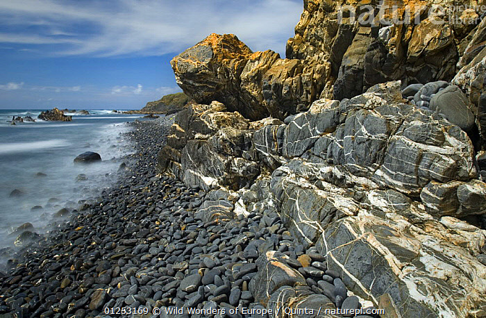 Coastline with rocky cliffs, Almograve, Natural Park of South West Alentejano and Costa Vicentina, Portugal, June 2009, ATLANTIC,CLIFFS,COASTS,EUROPE,LANDSCAPES,LU�S QUINTA,PORTUGAL,RESERVE,ROCKS,VEINS,WWE,Geology,Marine, Wild Wonders of Europe / Quinta