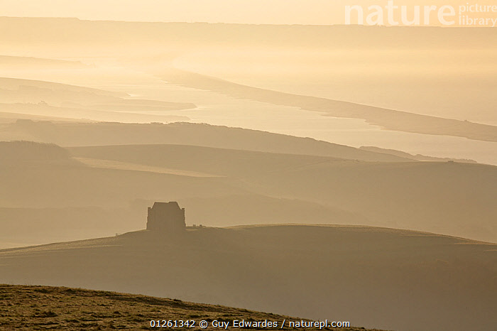 St. Catherine's Chapel, with the Fleet and Chesil Beach in the distance viewed from Abbotsbury Castle at dawn, Jurassic Coast World Heritage Site, Dorset, England, November 2006  ,  ATMOSPHERIC,BUILDINGS,CHURCHES,COASTS,DAWN,EUROPE,LANDSCAPES,UK,ENGLAND, United Kingdom,core collection xtwox,,Dorset and East Devon Coast, UNESCO World Heritage Site,  ,  Guy Edwardes