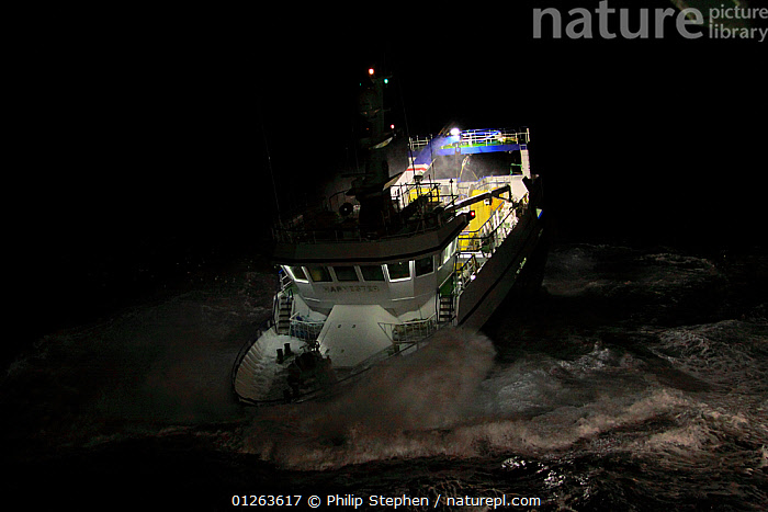 """Fishing vessel """"Harvester"""" on a stormy night, North Sea, October 2009. Property Released.  ,  DRAMATIC,EUROPE,FISHERIES,FRONT VIEWS,HEAVY SEAS,NIGHT,TRAWLERS,CONCEPTS,BOATS, WORKING-BOATS ,core collection xtwox  ,  Philip Stephen"""