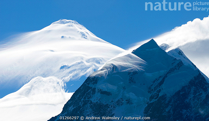 Mount Cook / Aoraki covered in snow with fine clouds, New Zealand, May 2007  ,  aoraki,beauty in nature,CATALOGUE2,cloud,CLOUDS,DRAMATIC,LANDSCAPES,meteorology,Mount Cook,mountain peak,MOUNTAINS,nature,new zealand,NEW ZEALAND,Nobody,outdoors,Scenics,SNOW,snowcapped,Weather  ,  Andrew Walmsley
