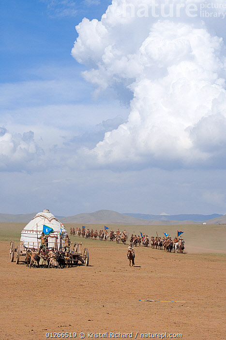 Re-enactement of the movement of the mounted armies of Genghis Khan (emperor of the Mongol Empire) during the Genghis Khan Show, in Ulaanbaatar, Mongolia. The horses are Mongolian horses. July 2007  ,  ASIA,CHINGGIS,CLOUDS,DESERTS,GALLOPING,GROUPS,HISTORICAL,HORSE,HORSES,KHAAN,LANDSCAPES,MONGOLIA,PEOPLE,RIDING,TRADITIONAL,VERTICAL,YURT,Weather  ,  Kristel Richard