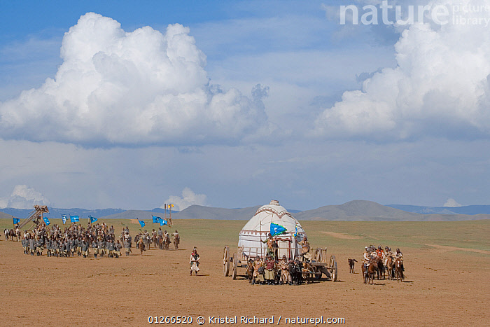 Re-enactement of the movement of the mounted armies of Genghis Khan (emperor of the Mongol Empire) during the Genghis Khan Show, in Ulaanbaatar, Mongolia. The horses are Mongolian horses. July 2007  ,  ASIA,CHINGGIS,GROUPS,HISTORICAL,HORSE,HORSES,KHAAN,LANDSCAPES,MONGOLIA,PEOPLE,RIDING,TRADITIONAL,YURT  ,  Kristel Richard