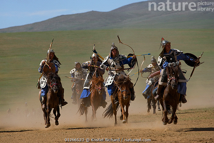 Re-enactement of an attack by the mounted armies of Genghis Khan (emperor of the Mongol Empire) carrying bows and arrows, during the Genghis Khan Show, in Ulaanbaatar, Mongolia. The horses are Mongolian horses. july 2007  ,  ARMY,ASIA,BAATOR,CAVALRY,FIGHT,FIGHTING,GALLOPING,GROUPS,HISTORICAL,HORSE,HORSES,LANDSCAPES,MONGOLIA,PEOPLE,RIDING,TRADITIONAL,Aggression  ,  Kristel Richard