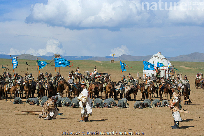 Re-enactement of the victory of the mounted armies of Genghis Khan (emperor of the Mongol Empire) over enemies (facing the ground) during the Genghis Khan Show, in Ulaanbaatar, Mongolia. The horses are Mongolian horses. July 2007  ,  ARMY,ASIA,BAATOR,CAVALRY,FIGHT,FIGHTING,GROUPS,HISTORICAL,HORSE,HORSES,LANDSCAPES,MONGOLIA,PEOPLE,RIDING,TRADITIONAL,ULAAN,Aggression  ,  Kristel Richard