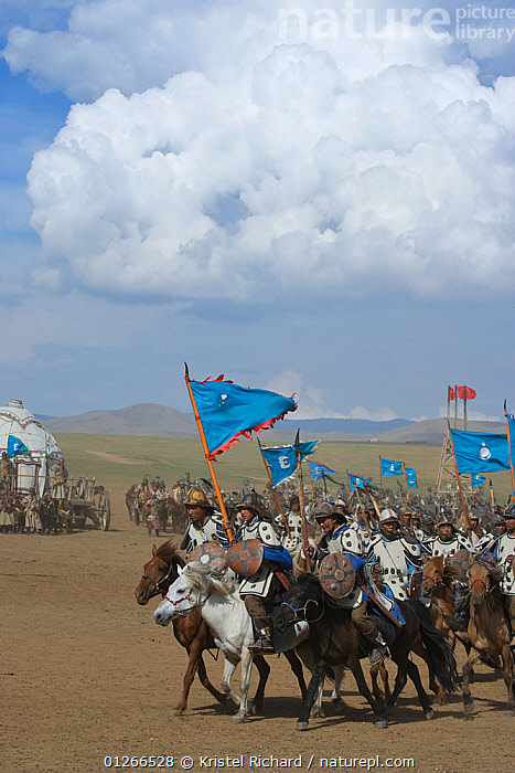 Re-enactement of an attack by the mounted armies of Genghis Khan (emperor of the Mongol Empire) during the Genghis Khan Show, in Ulaanbaatar, Mongolia. The horses are Mongolian horses. July 2007  ,  ARMY,ASIA,BAATOR,CAVALRY,FIGHT,FIGHTING,FLAGS,GALLOPING,GROUPS,HISTORICAL,HORSE,HORSES,LANDSCAPES,MONGOLIA,PEOPLE,RIDING,TRADITIONAL,ULAAN,VERTICAL,Aggression  ,  Kristel Richard