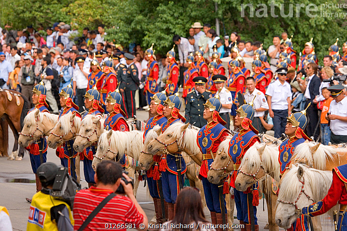 The Mongolian Cavalry opens the national Naadam festival, held during the National Holiday from July 11 � 13, in the National Sports Stadium, in Ulaanbaatar, Mongolia. The horses are Mongolian horses. 2007  ,  ARMY,ASIA,COLOURFUL,COSTUME,GROUPS,HORSE,HORSES,LANDSCAPES,MONGOLIA,PEOPLE,RIDING,TOURISM,TRADITIONAL  ,  Kristel Richard