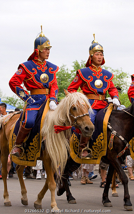 The Mongolian Cavalry opens the national Naadam festival, held during the National Holiday from July 11 � 13, in the National Sports Stadium, in Ulaanbaatar, Mongolia. The horses are Mongolian horses. 2007  ,  ARMY,ASIA,COLOURFUL,COSTUME,GROUPS,HORSE,HORSES,LANDSCAPES,MONGOLIA,PEOPLE,RIDING,TOURISM,TRADITIONAL,VERTICAL  ,  Kristel Richard