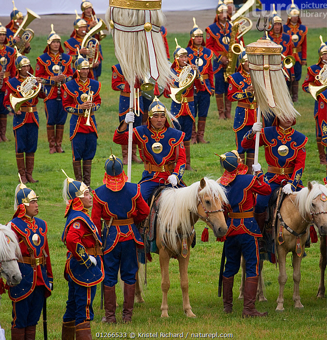 The Mongolian Cavalry opens the national Naadam festival, held during the National Holiday from July 11 � 13, in the National Sports Stadium, in Ulaanbaatar, Mongolia. The horses are Mongolian horses. 2007  ,  ARMY,ASIA,COLOURFUL,COSTUME,GROUPS,HORSE,HORSES,LANDSCAPES,MONGOLIA,PEOPLE,RIDING,TRADITIONAL  ,  Kristel Richard