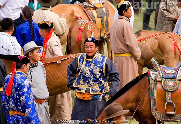 The various winners of the horse races of the national Naadam festival, held from July 11 � 13, gather in the stadium to receive their price, in Ulaabaatar, Mongolia. 2007  ,  ASIA,COMPETITION,HORSE,HORSES,LANDSCAPES,MONGOLIA,PEOPLE,RACING,RIDING,RUNNING,TRADITIONAL  ,  Kristel Richard