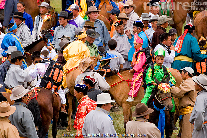 The various winners of the horse race of the national Naadam festival, held from July 11 � 13, gather in the stadium to receive their price, in Ulaabaatar, Mongolia. 2007  ,  ASIA,CHILDREN,COMPETITION,HORSE,HORSES,LANDSCAPES,MONGOLIA,PEOPLE,RACING,RIDING,RUNNING  ,  Kristel Richard