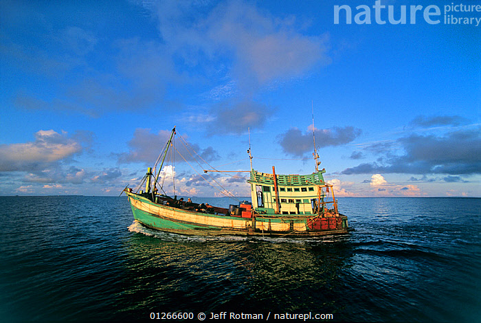 Fishing dragger boat,  Sihanoukville, Cambodia / Kampuchea, June 2008  ,  ASIA,BOATS,CALM,CAMBODIA,COMMERCIAL,FISHING,FISHING BOATS,INDO PACIFIC,LANDSCAPES,nets,PROFILE,sea,TRADITIONAL,WOODEN,SOUTH-EAST-ASIA,core collection xtwox  ,  Jeff Rotman