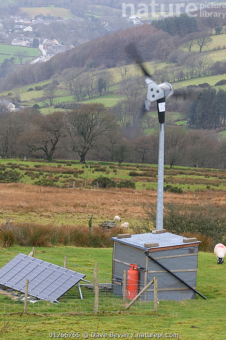 Wind turbine and solar panel for renewable energy electricity generation, Carmathenshire, Wales, UK, December 2007  ,  ELECTRICTY,ENERGY,EQUIPMENT,EUROPE,GREEN,SELF SUFFICIENCY,UK,VERTICAL,WALES,WIND, United Kingdom,Weather  ,  Dave Bevan