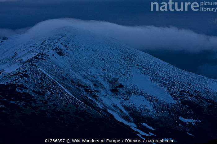 Fresh snow on Mount Smrecinsky vrch (2,066m) with a cloud over its summit, Western Tatras, Carpathian Mountains, Slovakia, June 2009  ,  BRUNO D'AMICIS,CLOUDS,EASTERN EUROPE,EUROPE,LANDSCAPES,MOUNTAINS,SLOVAKIA,SNOW,WWE,Weather  ,  Wild Wonders of Europe / D'Amicis