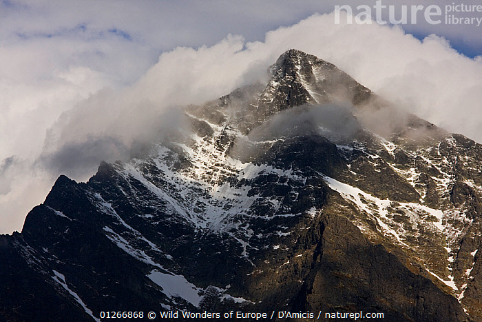 Mount Kriv�n (2,495m) national symbol of Carpathian Mountains, Slovakia, summit covered in clouds, High Tatras, Carpathian Mountains, Slovakia, June 2009  ,  BRUNO D'AMICIS,CLOUDS,EASTERN EUROPE,EUROPE,LANDSCAPES,MOUNTAINS,SLOVAKIA,SNOW,WWE,Weather  ,  Wild Wonders of Europe / D'Amicis