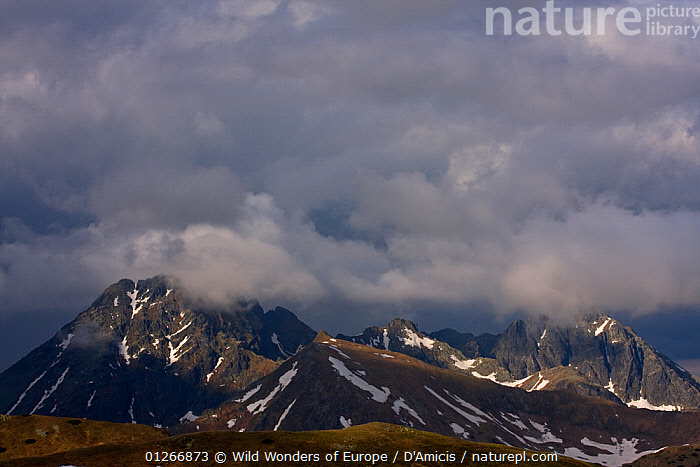 Clouds above Mount Svinica (2,301m) and Mount Kozi Wierch (2,291m) at sunset, High Tatras, Carpathian Mountains, Slovakia, June 2009  ,  BRUNO D'AMICIS,CLOUDS,EASTERN EUROPE,EUROPE,LANDSCAPES,MOUNTAINS,SLOVAKIA,SNOW,WWE,Weather  ,  Wild Wonders of Europe / D'Amicis