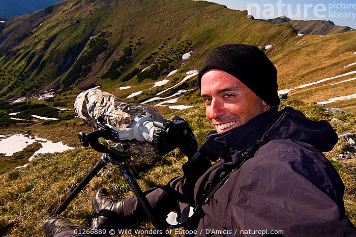Photographer, Bruno D'Amicis, at work in a mountain valley, Western Tatras, Carpathian Mountains, Slovakia, June 2009  ,  BRUNO D'AMICIS,EASTERN EUROPE,EUROPE,LANDSCAPES,PEOPLE,PORTRAITS,SLOVAKIA,WWE  ,  Wild Wonders of Europe / D'Amicis