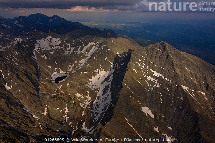 Aerial view of the northern slope of Mount Kriv�n (2,495m) High Tatras, Carpathian Mountains, Slovakia, June 2009  ,  AERIALS,BRUNO D'AMICIS,EASTERN EUROPE,EUROPE,LANDSCAPES,MOUNTAINS,SLOVAKIA,WWE  ,  Wild Wonders of Europe / D'Amicis