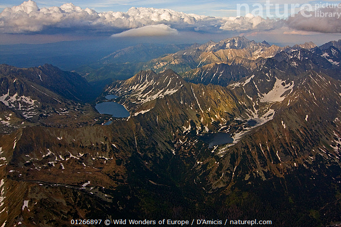 Aerial view of the High Tatras on the Carpathian Mountains, Slovakia-Poland border, Mount Gerlach (2,665m) in the distance, High Tatras, Carpathian Mountains, Slovakia, June 2009  ,  AERIALS,BRUNO D'AMICIS,CLOUDS,EASTERN EUROPE,EUROPE,LAKES,LANDSCAPES,MOUNTAINS,SLOVAKIA,WWE,Weather  ,  Wild Wonders of Europe / D'Amicis