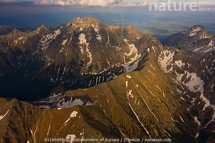 Aerial view of the massif of Mount Gerlach (2,665m) the highest peak of the Tatras, High Tatras, Carpathian Mountains, Slovakia, June 2009  ,  AERIALS,BRUNO D'AMICIS,EASTERN EUROPE,EUROPE,LANDSCAPES,MOUNTAINS,SLOVAKIA,WWE  ,  Wild Wonders of Europe / D'Amicis