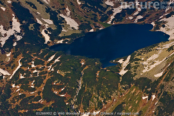 Aerial view of the Temnosmrecianske lake and waterfall at sunset, High Tatras, Carpathian Mountains, Slovakia, June 2009  ,  AERIALS,BRUNO D'AMICIS,EASTERN EUROPE,EUROPE,LAKES,LANDSCAPES,RIVERS,SLOVAKIA,WATERFALLS,WWE  ,  Wild Wonders of Europe / D'Amicis
