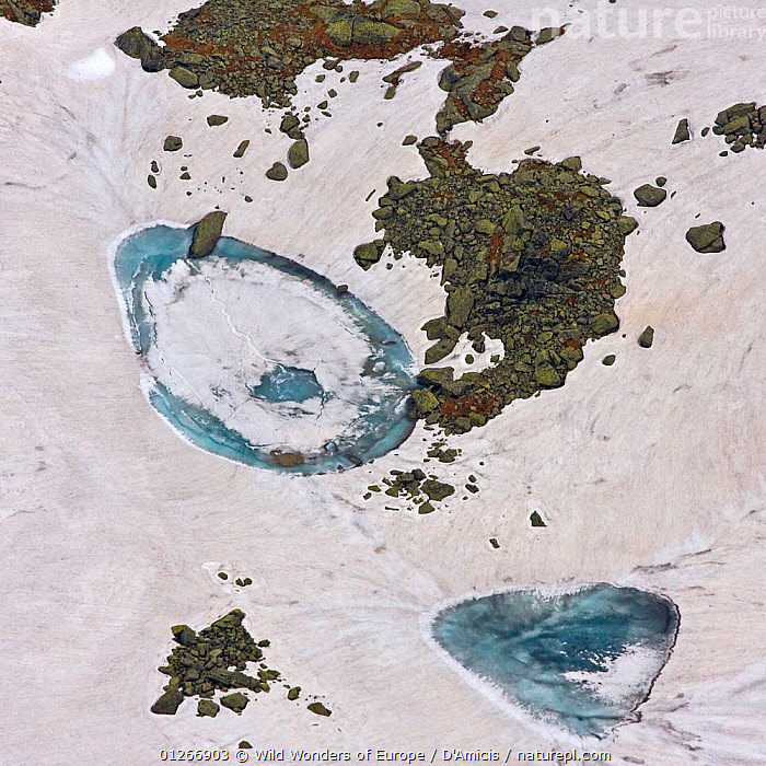 Alpine lakes created by melting snow, High Tatras, Carpathian Mountains, Slovakia, June 2009  ,  AERIALS,BRUNO D'AMICIS,EASTERN EUROPE,EUROPE,ICE,LANDSCAPES,MELTING,SLOVAKIA,SNOW,WATER,WWE  ,  Wild Wonders of Europe / D'Amicis