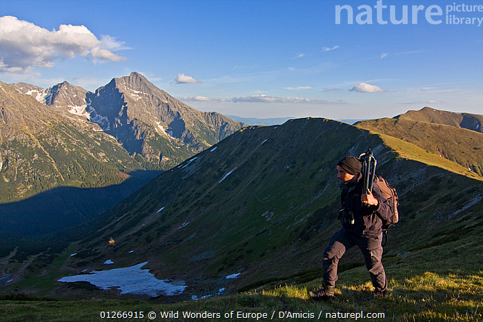 Photographer, Bruno D'Amicis, walking on a ridge, Western Tatras, with Mount Kriv�n (2,495m) in the background, Western Tatras, Carpathian Mountains, Slovakia, June 2009  ,  BRUNO D'AMICIS,EASTERN EUROPE,EUROPE,HIKING,LANDSCAPES,MOUNTAINS,PEOPLE,PORTRAITS,SLOVAKIA,WWE  ,  Wild Wonders of Europe / D'Amicis