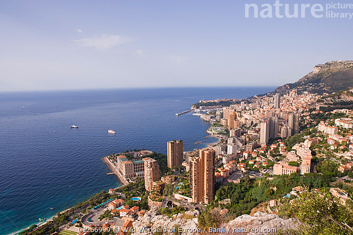 Panoramic view of Montecarlo, the Larvotto Marine Reserve is just in front of the beach covering the small peninsula with the buildings, Larvotto Marine Reserve, Monaco, Mediterranean Sea, July 2009  ,  BUILDINGS,CITIES,COASTS,DEVELOPMENT,EUROPE,FRANCO BANFI,HIGH ANGLE SHOT,LANDSCAPES,MEDITERRANEAN,MONACO ,POPULATION,RESERVE,WWE  ,  Wild Wonders of Europe / Banfi
