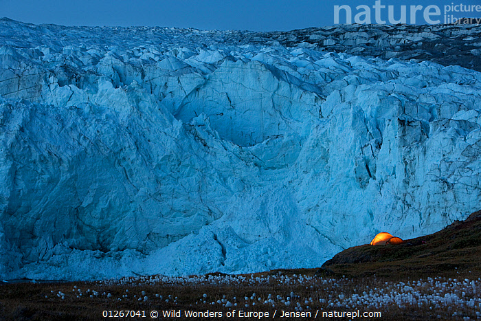 Tent at night next to Russell Glacier, Greenland, August 2009  ,  ARCTIC,BLUE,EUROPE,GLACIERS,GREENLAND,ICE,KAI JENSEN,LANDSCAPES,TENTS,WWE,Geology  ,  Wild Wonders of Europe / Jensen